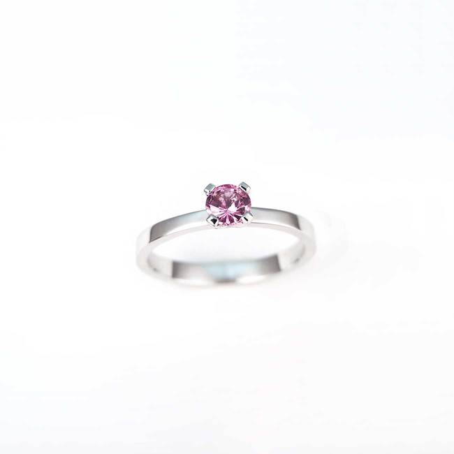 pink sapphire engagement ring in white gold