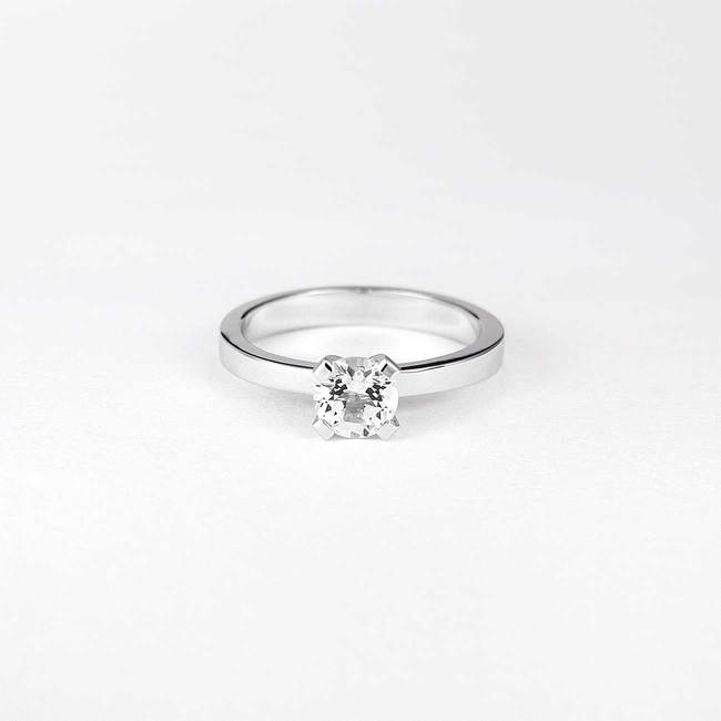classic engagement ring with white stone