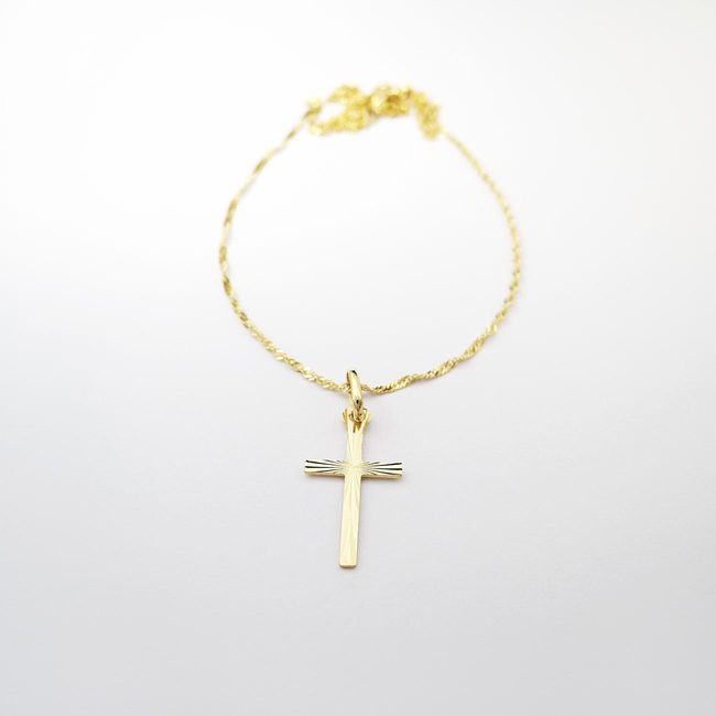 baptism necklace and cross yellow gold