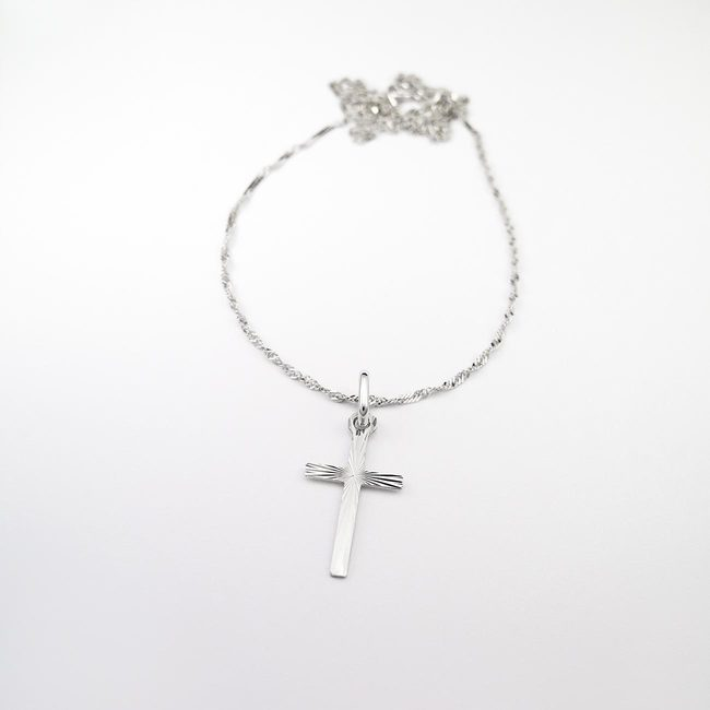 baptism necklace and cross white gold