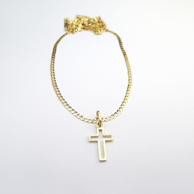 mens necklace and cross yellow gold baptism
