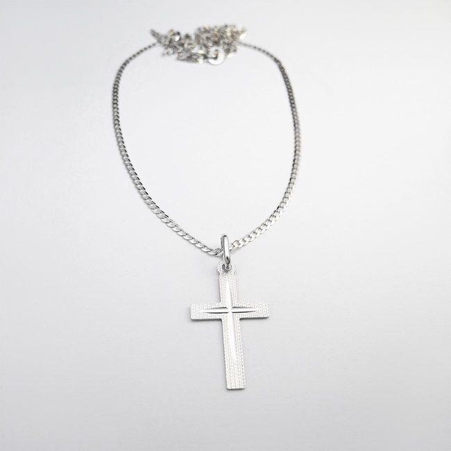 moška verižica in večji križ za krst belo zlato