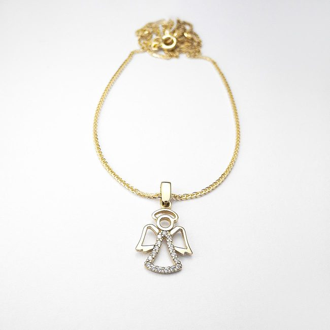baptism chains and angel pendant gold zirconia