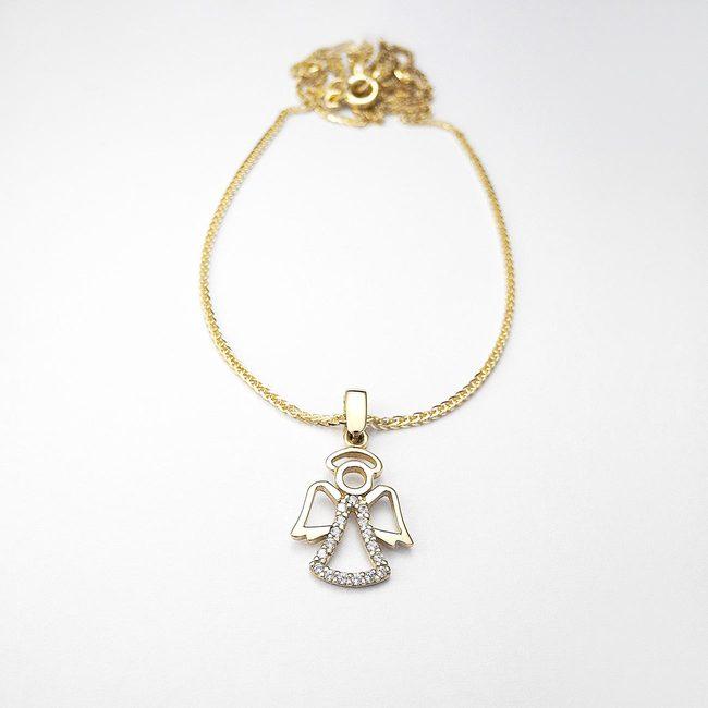 Taufketten und Engelsanhänger aus goldenem Zirkonia