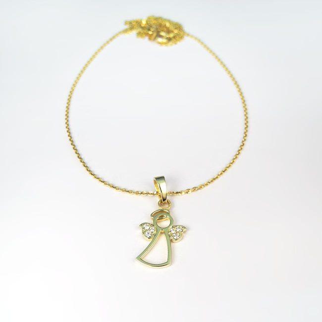 angelček in verižica anker rumeno zlato