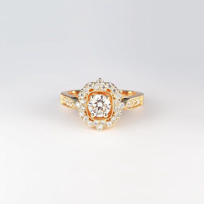 prstan roza zlato diamanti