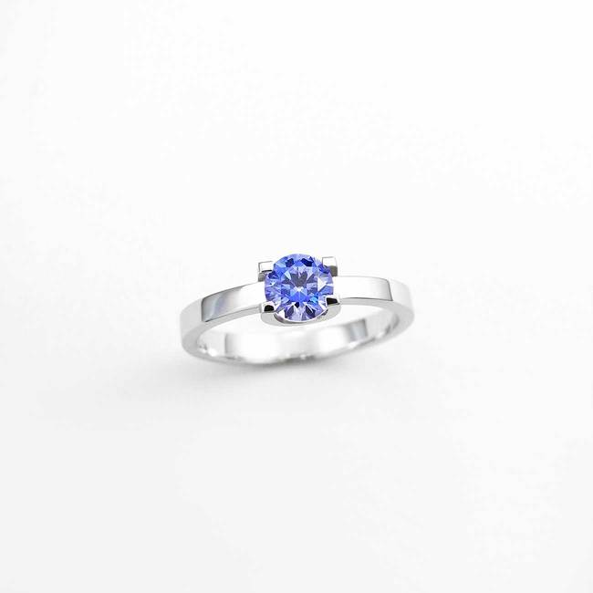 solitaire tare engagement ring U shape white gold