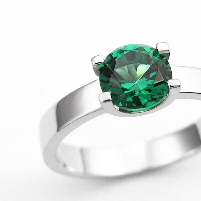 prstan oblika U belo zlato zelen alpinit