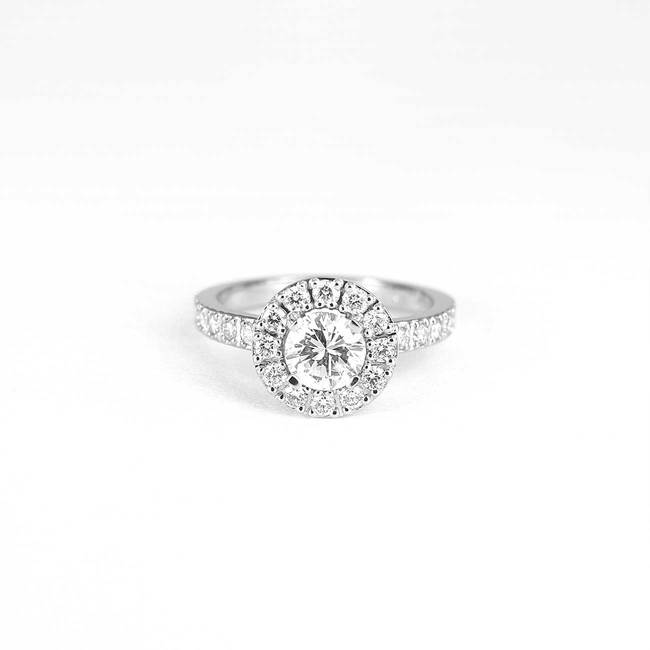 round halo engagement ring with different stone combinations