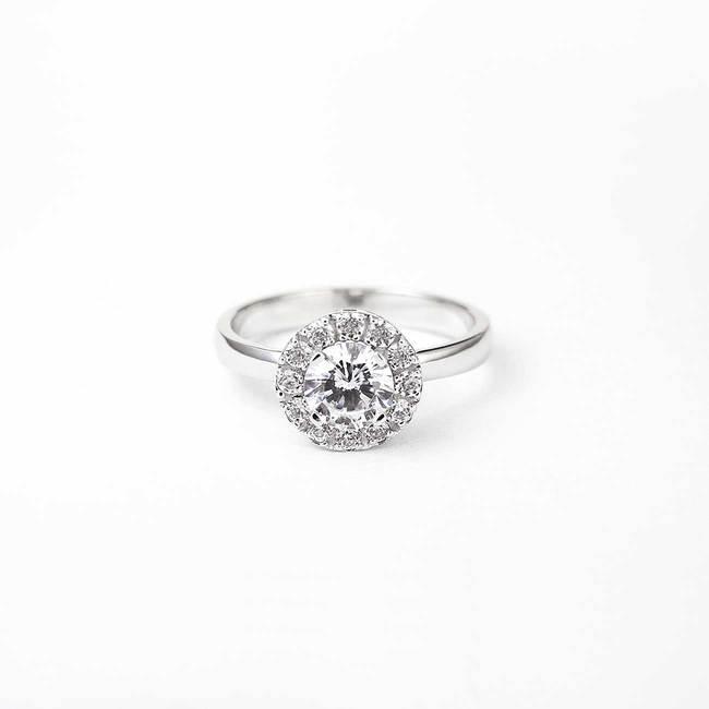 prstan halo okrogel kamen zaročni