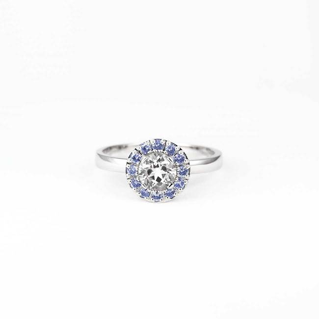 zaročni prstan halo okrogel modri safirji topaz diamanti