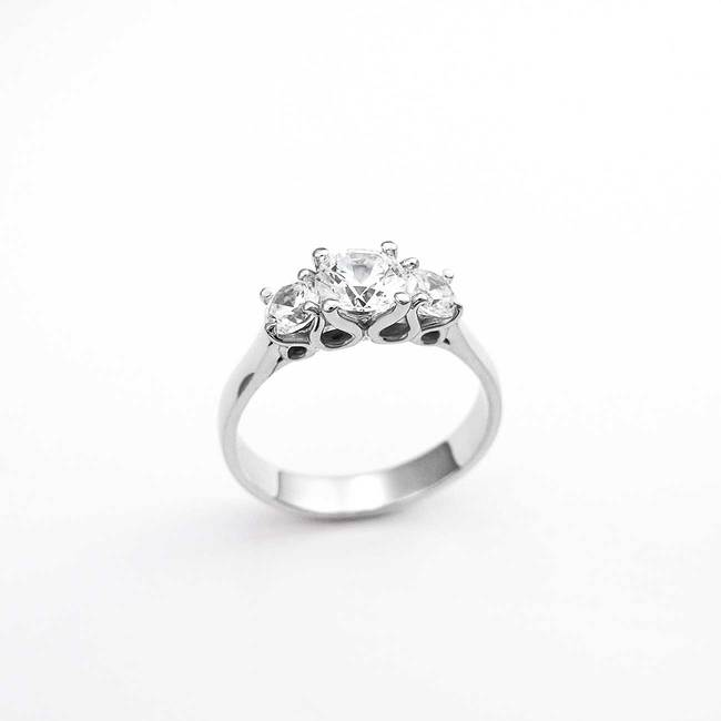 modern engagement ring three stone design different stones