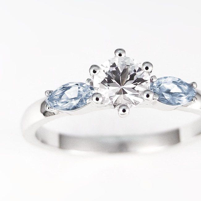 prstan okrogel špičast kamen cirkon topaz povečava
