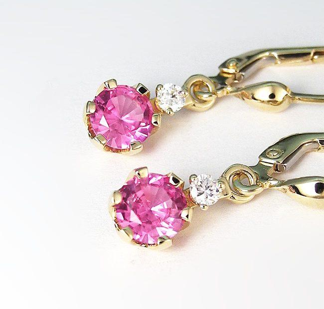 zlati uhani roza ametist in diamanti povečava