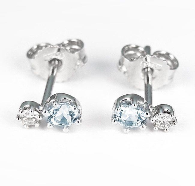 enostavni uhani moder topaz cirkoni diamanti
