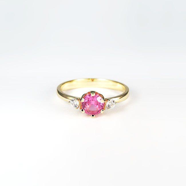 roza ametist umeten prstan rumeno zlato