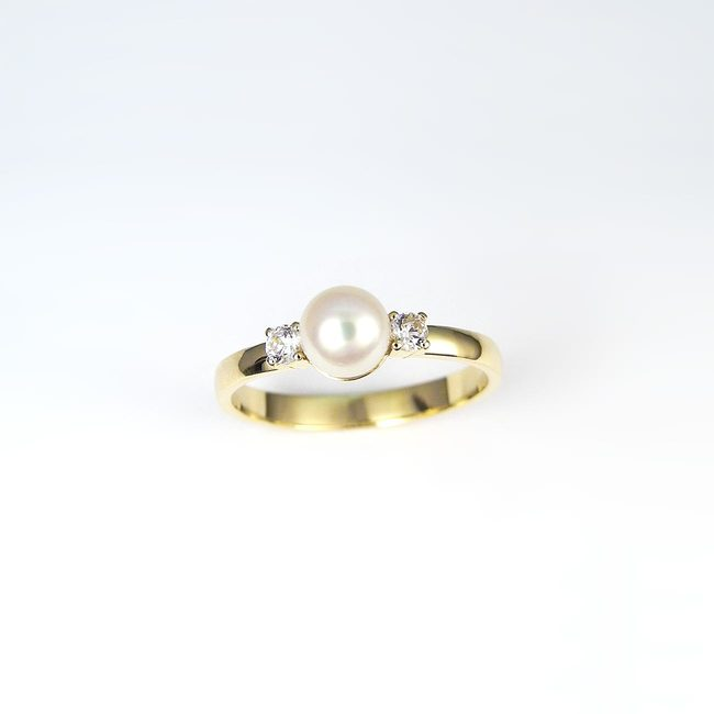 ring pearl gold side diamonds