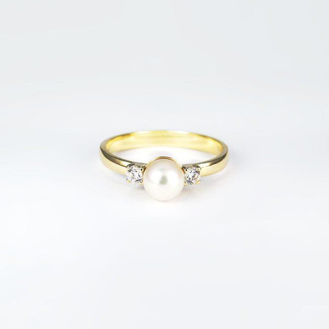 prstan zlat perla in beli kamni
