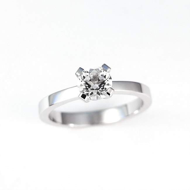 solitaire ring with white diamond stone