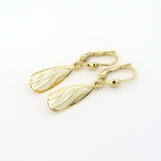 viseči zlati uhani hruškaste oblike rumeno zlato