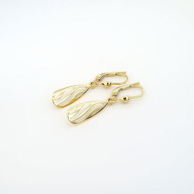 zlati uhani viseči rumeno zlato hruškaste oblike