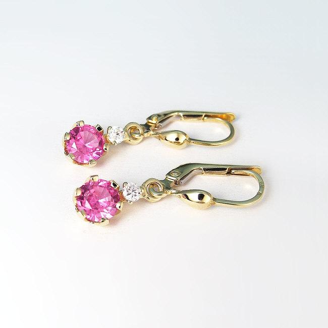 zlati uhani roza ametist in diamanti