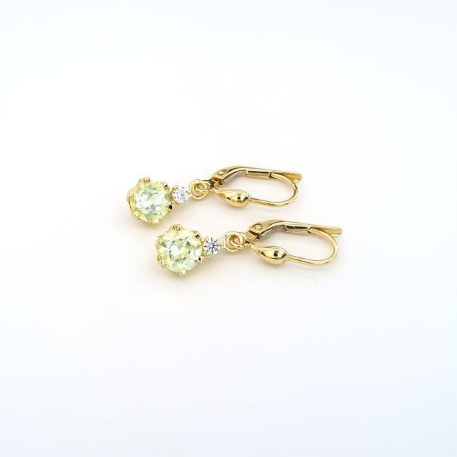 yellow gold lite green chrysolite and diamond earrings