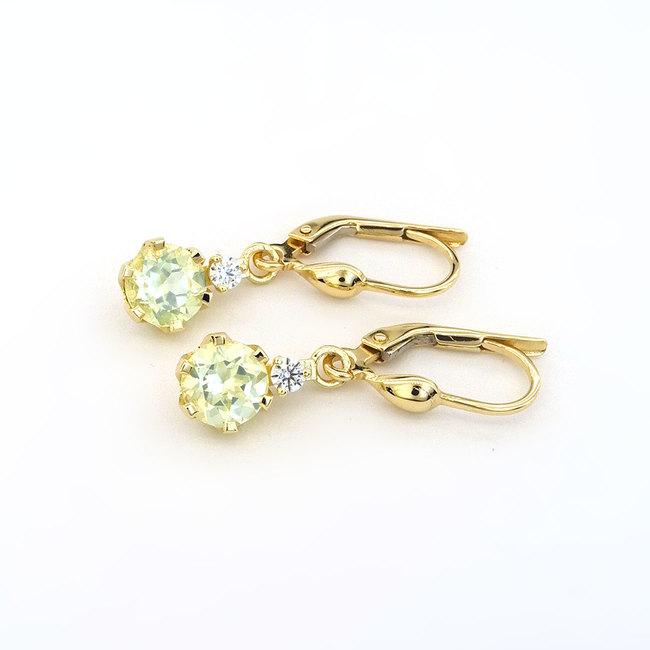 zlati uhani s svetlo zelenim chrysolitom in diamanti