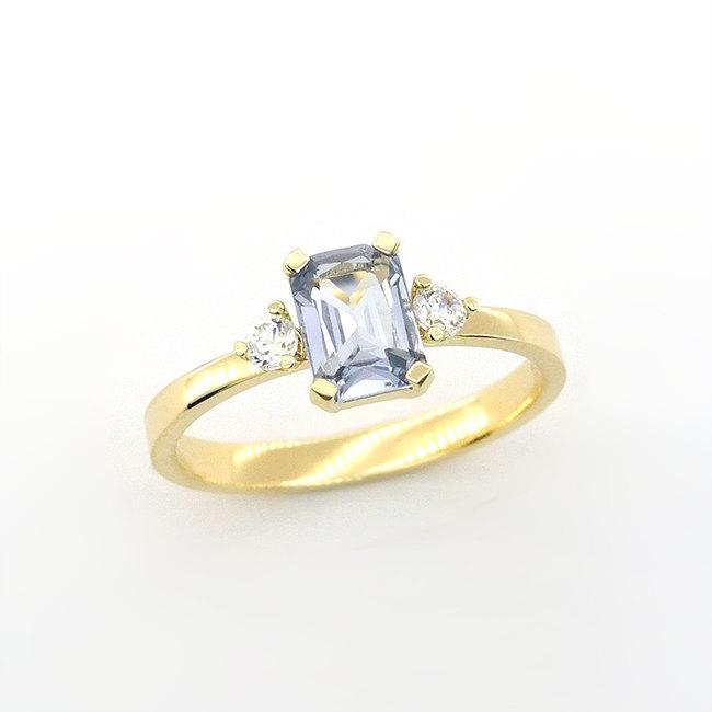 prstan zlato diamanti umeten moder akvamarin