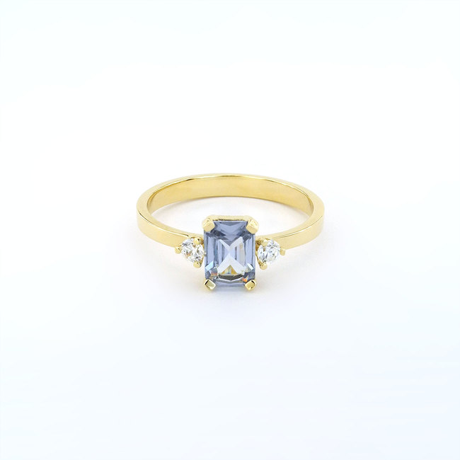 prstan rumeno zlato diamanti umeten svetlo moder akvamarin