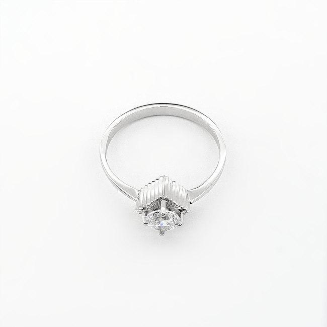 prstan moern dizajn belo zlato cirkon