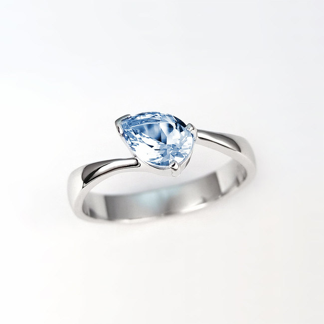 ring pear shape stone engagement white gold blue topaz