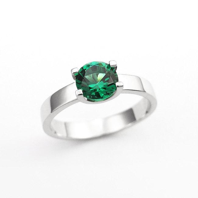 zaročni prstan oblika U belo zlato zelen alpinit povečava