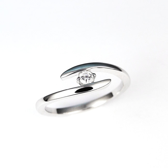 ring thin curved diamond stone engagement white gold