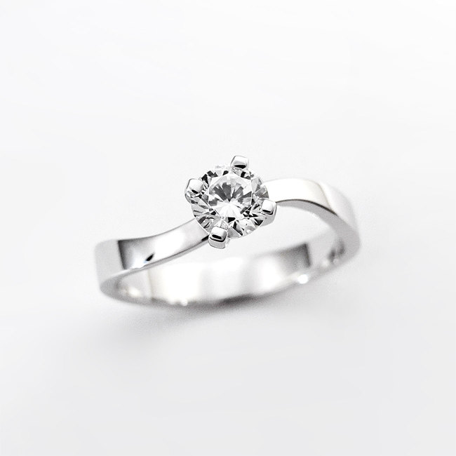 engagement ring curved nature diamond stone white gold