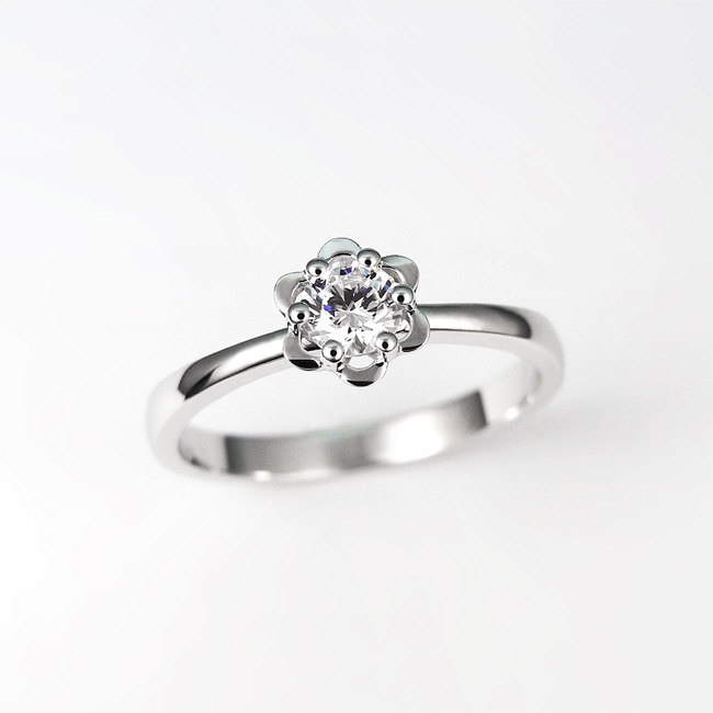 verlovingsring rose design diamant goud wit
