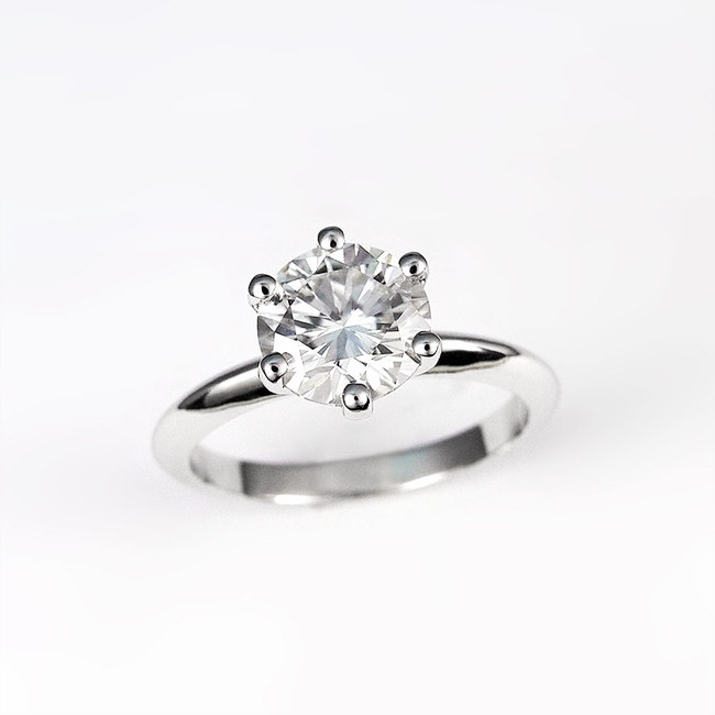 white gold engagement ring moissanite