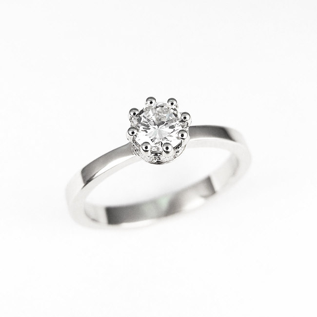 ring forlovelse krone sidesten sten diamanter