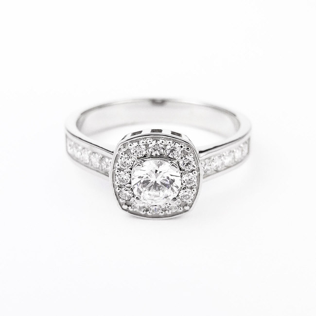 ring cushion main stone halo diamonds white gold engagement