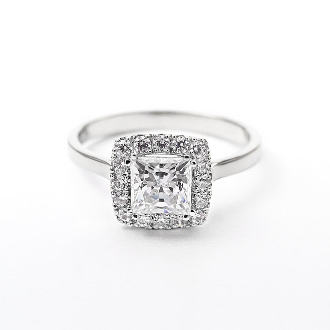 engagement ring princess main stone halo diamonds white gold