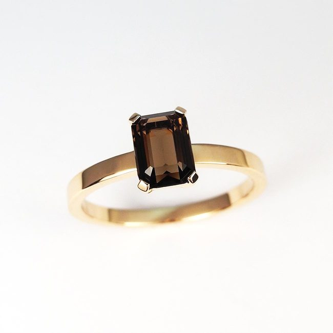 ring rose gold emerald semiprecious stone square smoky quarz