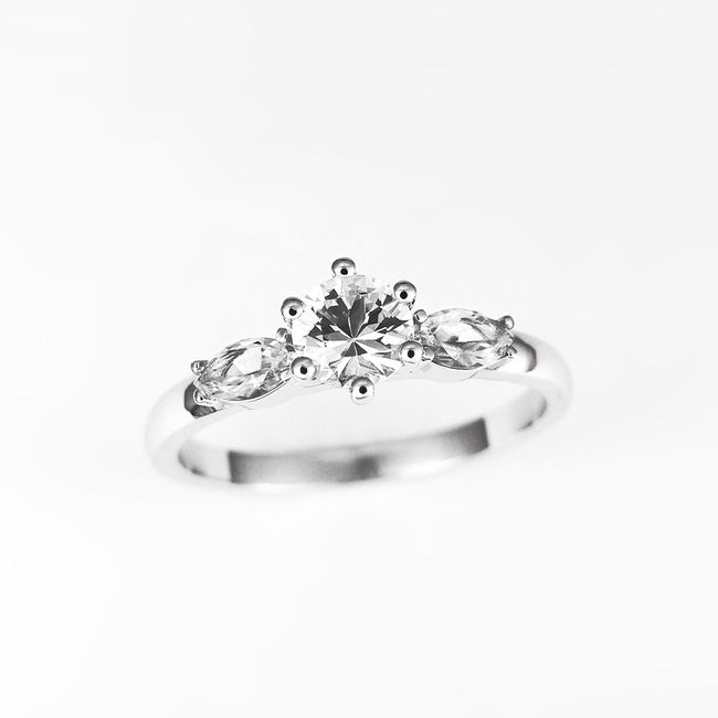 engagement ring round side marquise stone combo round cubic zirconia