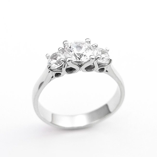modern engagement ring three stone design different