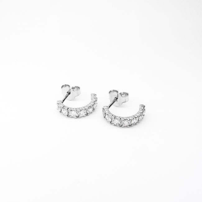earrings half hoops white gold zirconia 2.5 mm