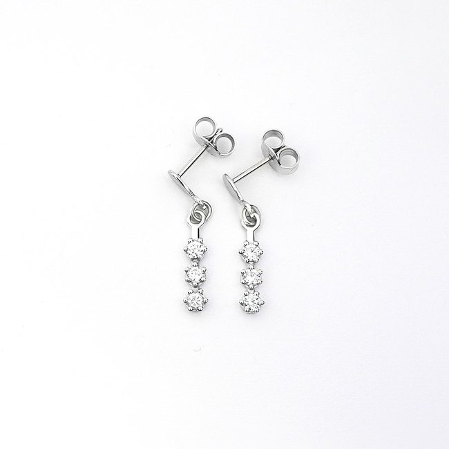 white gold simple three stone earrings zirconia
