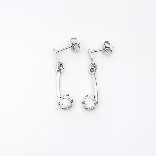 simple earrings curved white gold stone