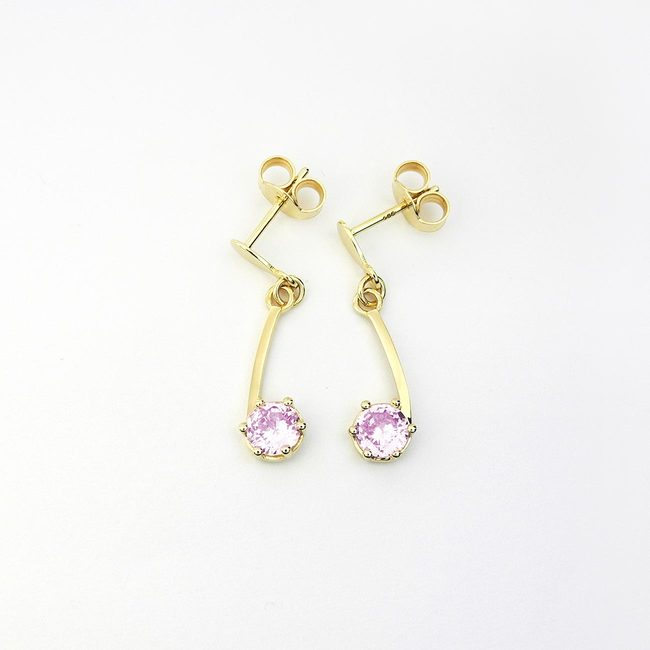 earrings simply curved yellow gold pink stone