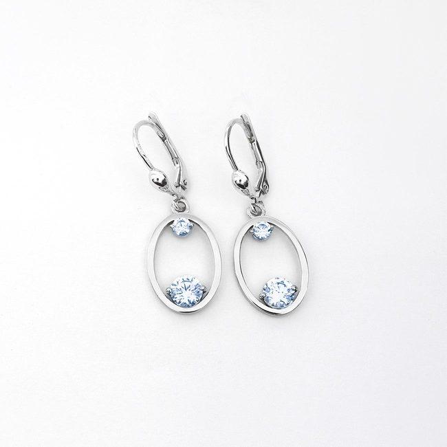 oval earrings bigger white gold light blue topaz