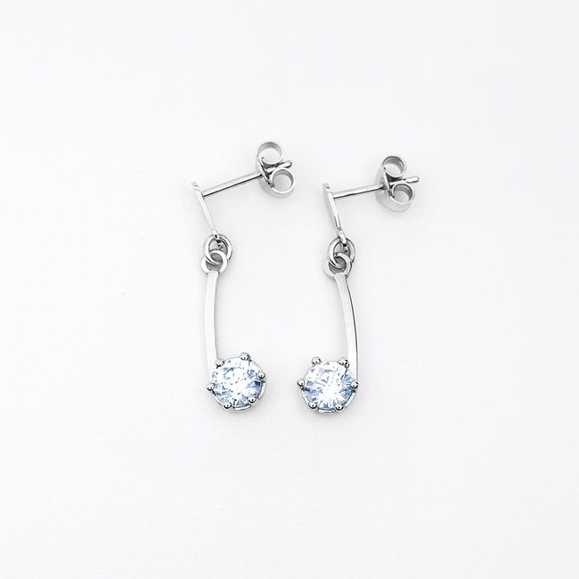 simple earrings curved white gold stone light blue topaz