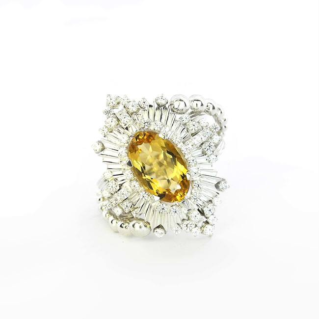 yellow beryl cocktail ring